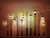 Street lantern. Fantasy illustration or poster, or background for card with street lamp. Computer graphics stock illustration