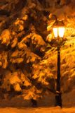Street lantern and fir tree under the snow. Oil paint stylization Royalty Free Stock Photo
