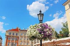 Street lantern in historical center of Lviv, Ukraine Stock Image