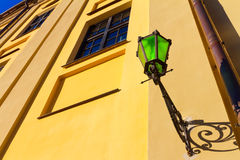 Street lantern made of green glass. Royalty Free Stock Photography