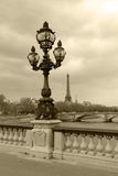 Street lantern on in Paris, sepia picture. Royalty Free Stock Photography