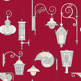 Street lantern seamless pattern. Street lantern drawing sketch seamless pattern Royalty Free Stock Photography