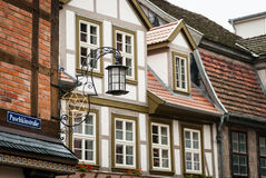 Street lantern, Schwerin, Germany. Schwerin is the capital and second-largest city of the northern German state of Mecklenburg-Vorpommern. Streets of the town Stock Photo