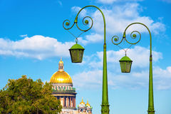 Street lanterns, St Petersburg. Street lanterns in front of St Isaac's Cathedral, St Petersburg, Russia Stock Image