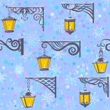 Street Lanterns, Seamless Pattern Stock Image
