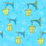 Street Lanterns, Seamless Pattern Royalty Free Stock Photo