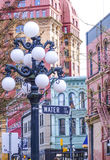 The street lanterns at Vancouver Gastown - the historic district - VANCOUVER / CANADA - APRIL 12, 2017. The street lanterns at Vancouver Gastown - the historic Stock Photos