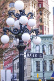 The street lanterns at Vancouver Gastown - the historic district - VANCOUVER / CANADA - APRIL 12, 2017. The street lanterns at Vancouver Gastown - the historic Stock Photography