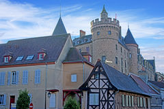Street in Lapalisse, France. Castle and town of Lapalisse, France Royalty Free Stock Image