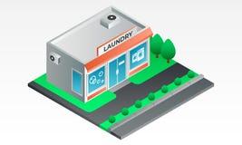 Street laundry shop banner, isometric style vector illustration