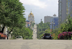Street leading to The Cathedral of the Saviour's Transfiguration in Khabarovsk Stock Image
