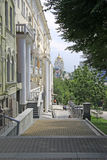 Street leading to The Cathedral of the Saviour's Transfiguration in Khabarovsk Stock Photo