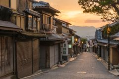 Old Town district of Kyoto Japan. A street leading to Kiyomizu Temple in an old town district of Kyoto Japan royalty free stock photography