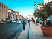 Street leading to the Square of Saint Peter. Italy, Vatican. Royalty Free Stock Photos