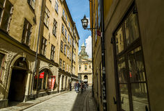 Street leading to the square Stortorget in Stockholm in Gamla St. September 04, 2015. Stockholm. Street leading to the square Stortorget in Stockholm in Gamla stock photo