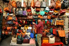 Street leather market in Florence, Italy Royalty Free Stock Photos