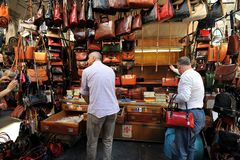 Street leather market in Florence, Italy Royalty Free Stock Images