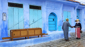 Street life in the Blue city of Chefchaouen Royalty Free Stock Images