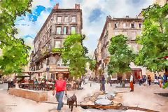 Street life in Bordeaux in old center. Watercolor style Royalty Free Stock Photography