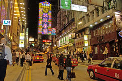 street life in Hongkong with neon lights Stock Image