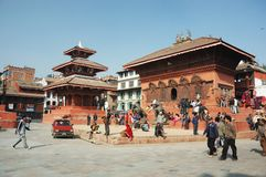 Street Life In Kathmandu on Durbar Square,Nepal Stock Photos