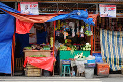 Street life in Manila, Philippines. Grocery store on street in Manila, Philippines stock image
