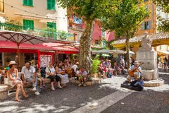 Street life of Menton, France. Royalty Free Stock Photo