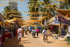 Street life near by Murudeshwar Royalty Free Stock Image