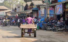 Street life in New Bagan, Myanmar. Despite the majesty and importance of Bagan, UNESCO did not include it on its World Heritage Site, because it says some Royalty Free Stock Photo
