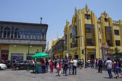 Street life on one of the Lima city old town street with traditi Stock Image