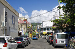 The street life of Roseau city, Dominica island,. ROSEAU, DOMINICA - JANUARY 5, 2017 - The street life of Roseau city on January 5, 2017. Roseau is the capital stock image