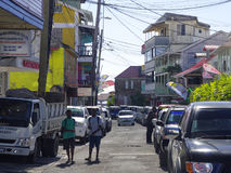 The street life of Roseau city, Dominica island,. ROSEAU, DOMINICA - JANUARY 5, 2017 - The street life of Roseau city on January 5, 2017. Roseau is the capital royalty free stock photos