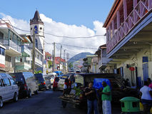 The street life of Roseau city, Dominica island,. ROSEAU, DOMINICA - JANUARY 5, 2017 - The street life of Roseau city on January 5, 2017. Roseau is the capital royalty free stock images