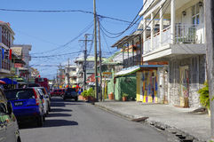 The street life of Roseau city, Dominica island,. ROSEAU, DOMINICA - JANUARY 5, 2017 - The street life of Roseau city on January 5, 2017. Roseau is the capital royalty free stock photo
