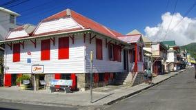 The street life of Roseau city, Dominica island,. ROSEAU, DOMINICA - JANUARY 5, 2017 - The street life of Roseau city on January 5, 2017. Roseau is the capital stock photo