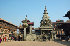 Street life in sacred town Bhaktapur,Nepal Royalty Free Stock Photo