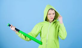 Street life. Sporty girl fighter. Fighting with aggression. woman workout with baseball bat. Sport equipment. Athletic. Fitness. aggressive woman with bat royalty free stock image