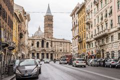 Street life and traffic in Rome city centre, Italy Stock Photo