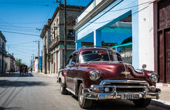 Street life view t in Havana Cuba with Oldtimer Stock Photo