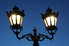 Street light 01. Street lamp in working mode in the winter night Stock Image
