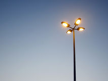 Street light against a blue sky. Background,street four lamps on clear blue sky Stock Photo