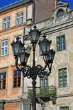 Street light on the background of the building in Lvov Royalty Free Stock Photos