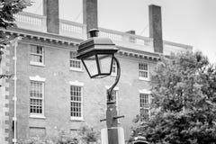 Street light and beautiful house. Details. Philadelphia, USA. Black and white photo Stock Photo