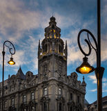 Street light and building at sunset in Budapest. Royalty Free Stock Images