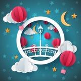Street light. Cartoon paper landscape. Bridge, air balloon, moon, cloud, stad. vector illustration