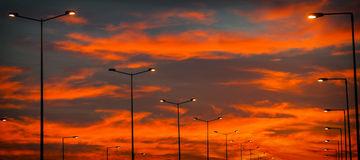 Street light in the evening sky Stock Image