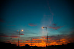 Street light in the evening sky Royalty Free Stock Image