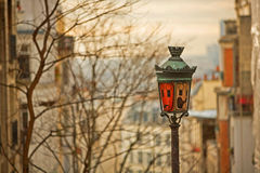 Street light. Lamp on Montmartre against Paris Royalty Free Stock Images