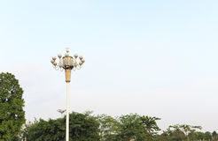 Street light lamp post on blue sky background,  road lamp at top of pole  Royalty Free Stock Image