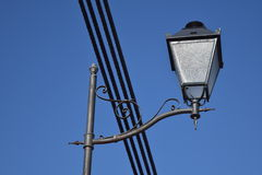 Street light. Street lamp and wires against the sky. Camera angle from the bottom Stock Photo